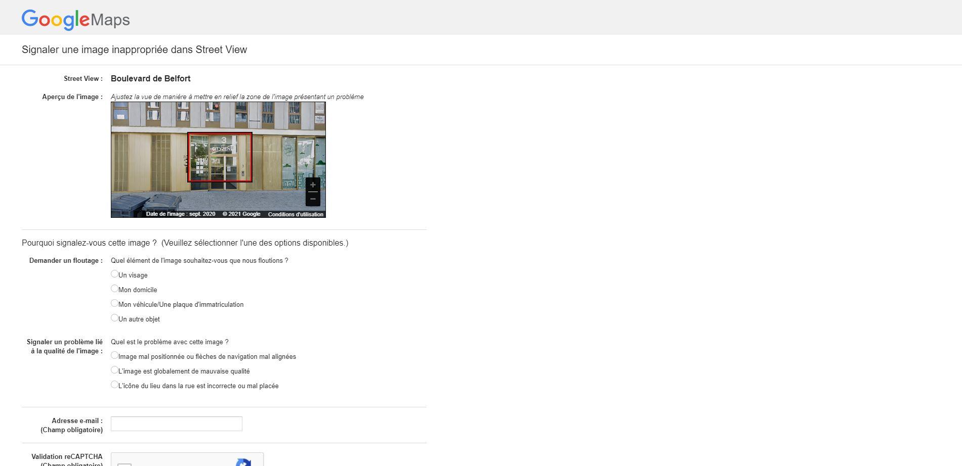 Cadrage problème google street view