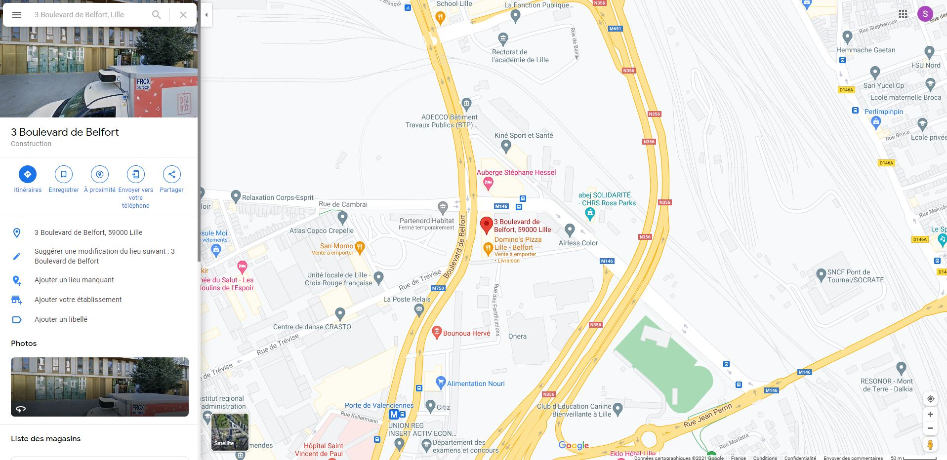 Google maps vers Google Street view